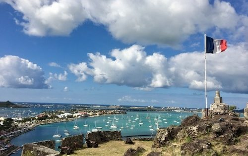 View over Marigot Bay and St Martin from the Fort, one of our stops on this sailing trip 500 dpi