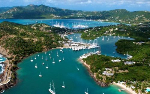 English and Falmouth Harbour as seen from Shirley Heights in Antigua & Barbuda